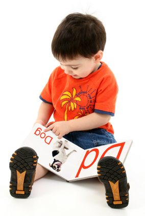 Adorable Toddler Boy Reading Alphabet Book.